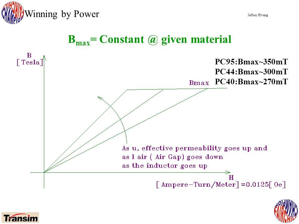 Jeffrey Hwang Winning by Power B max = Constant @ given material PC95:Bmax~350mT PC44:Bmax~300mT PC40:Bmax~270mT