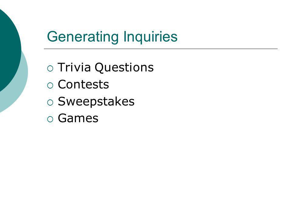 Generating Inquiries Trivia Questions Contests Sweepstakes Games