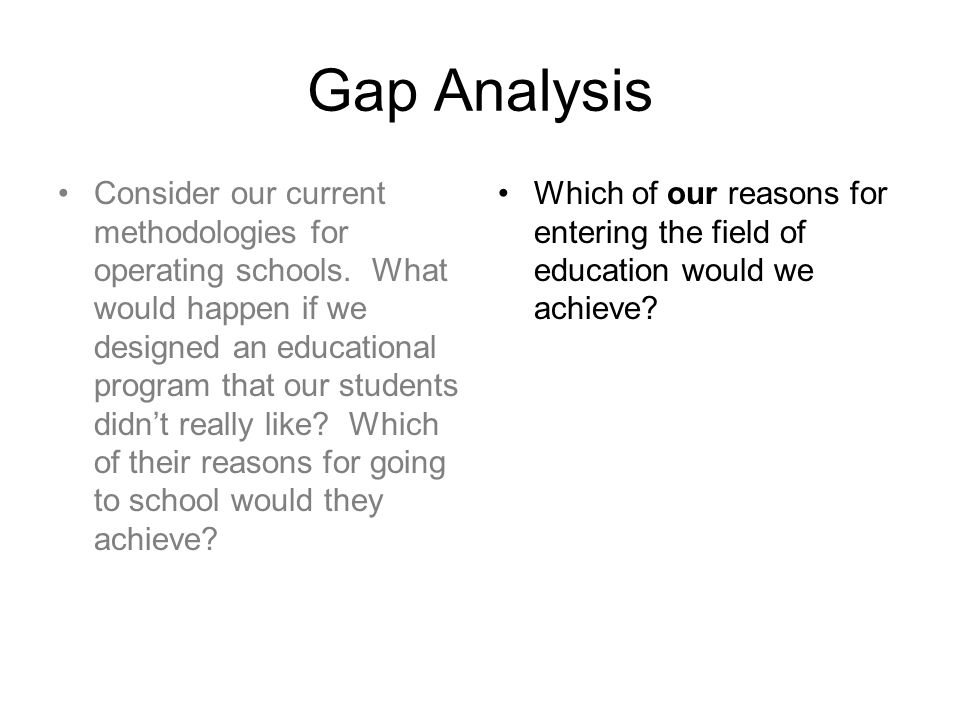 Gap Analysis Consider our current methodologies for operating schools.