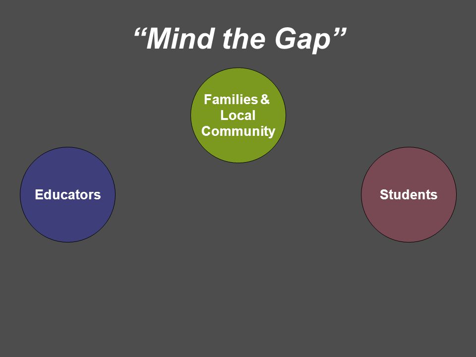 EducatorsStudents Mind the Gap Families & Local Community
