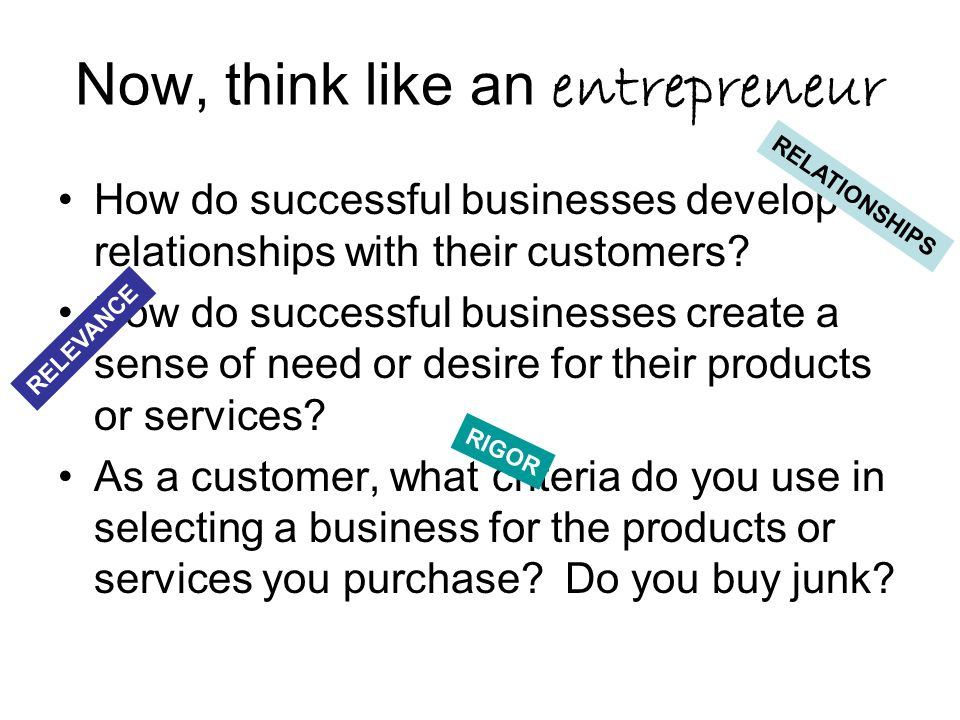 Now, think like an entrepreneur How do successful businesses develop relationships with their customers.