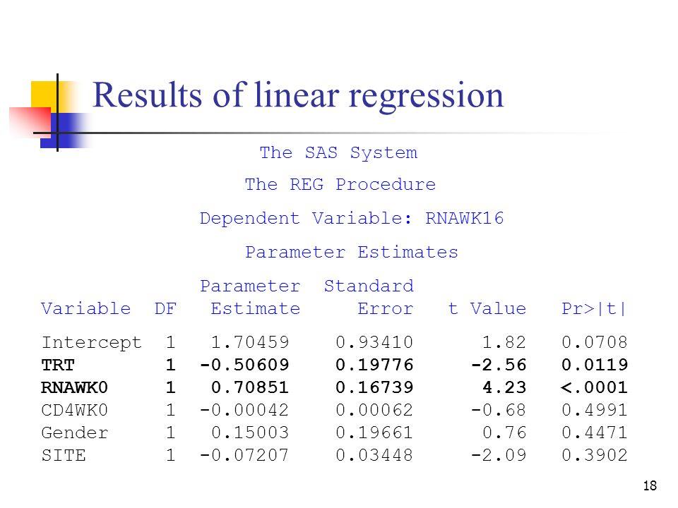 18 Results of linear regression The SAS System The REG Procedure Dependent Variable: RNAWK16 Parameter Estimates Parameter Standard Variable DF Estimate Error t Value Pr>|t| Intercept 1 1.70459 0.93410 1.82 0.0708 TRT 1 -0.50609 0.19776 -2.56 0.0119 RNAWK0 1 0.70851 0.16739 4.23 <.0001 CD4WK0 1 -0.00042 0.00062 -0.68 0.4991 Gender 1 0.15003 0.19661 0.76 0.4471 SITE 1 -0.07207 0.03448 -2.09 0.3902