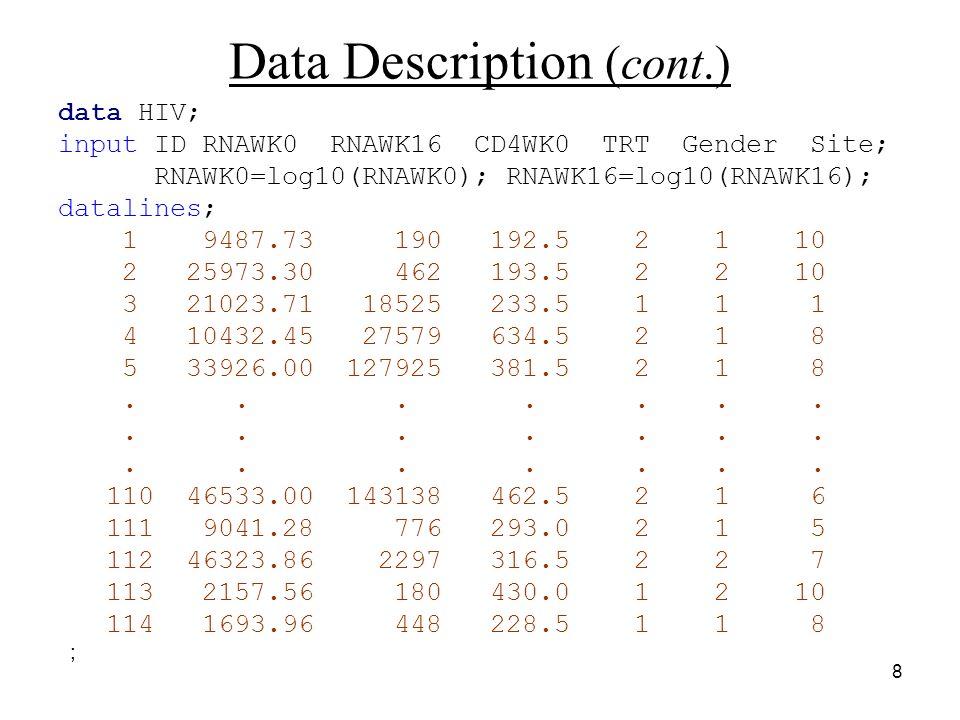 8 Data Description (cont.) data HIV; input ID RNAWK0 RNAWK16 CD4WK0 TRT Gender Site; RNAWK0=log10(RNAWK0); RNAWK16=log10(RNAWK16); datalines; 1 9487.73 190 192.5 2 1 10 2 25973.30 462 193.5 2 2 10 3 21023.71 18525 233.5 1 1 1 4 10432.45 27579 634.5 2 1 8 5 33926.00 127925 381.5 2 1 8.......