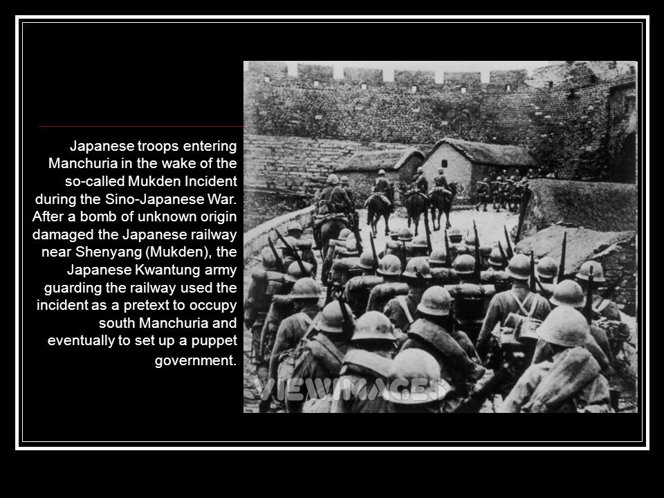 Japanese troops entering Manchuria in the wake of the so-called Mukden Incident during the Sino-Japanese War. After a bomb of unknown origin damaged t