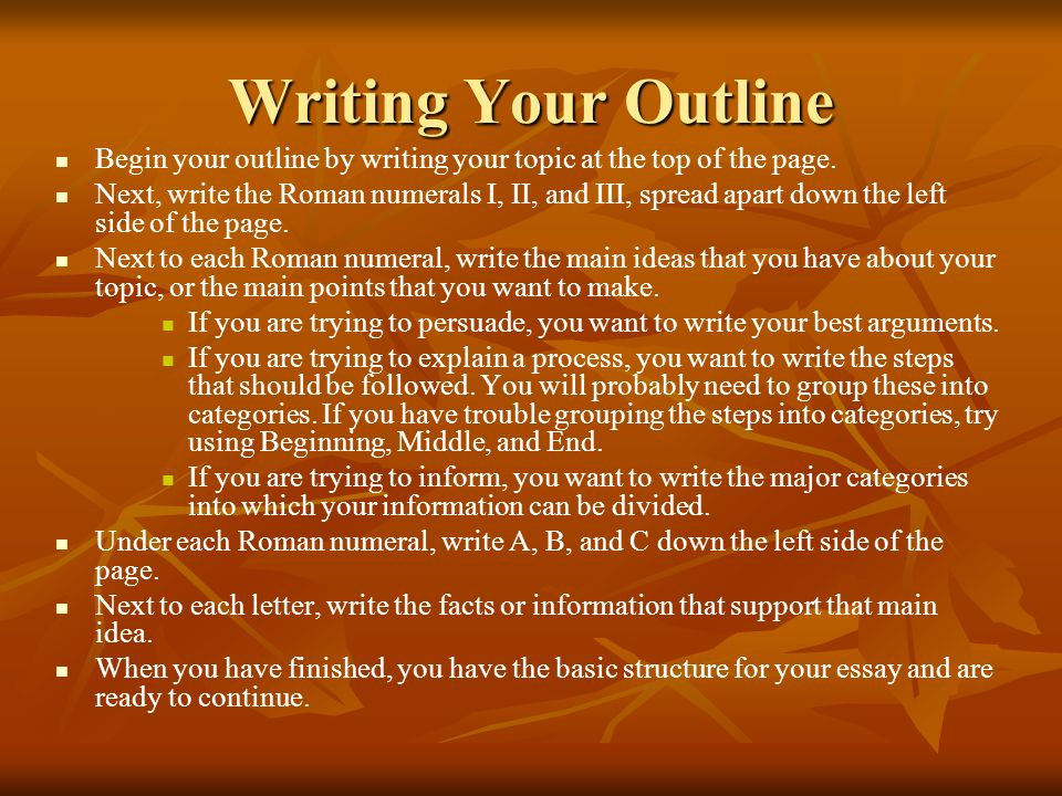 Writing Your Outline Begin your outline by writing your topic at the top of the page. Next, write the Roman numerals I, II, and III, spread apart down