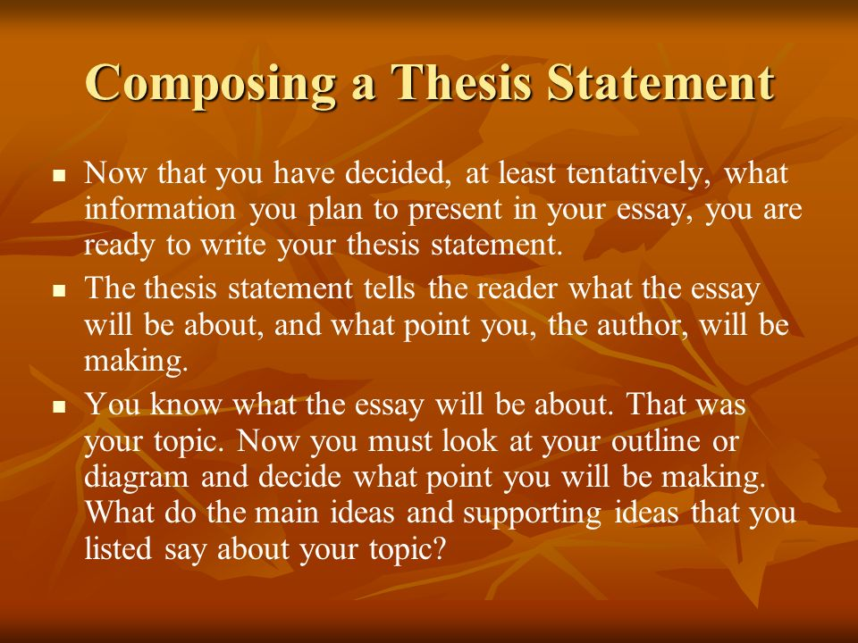 Composing a Thesis Statement Now that you have decided, at least tentatively, what information you plan to present in your essay, you are ready to wri