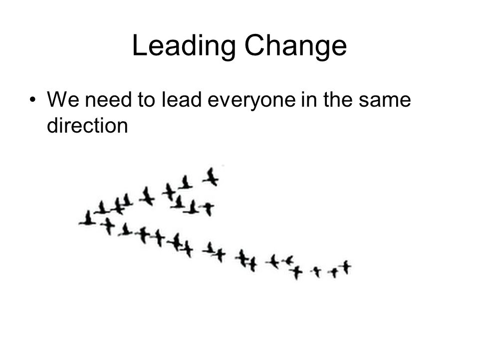 Leading Change We need to lead everyone in the same direction