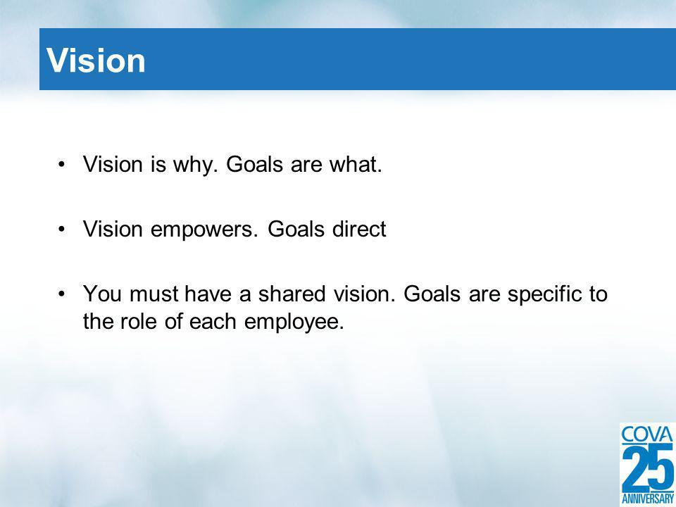 Vision is why. Goals are what. Vision empowers. Goals direct You must have a shared vision.