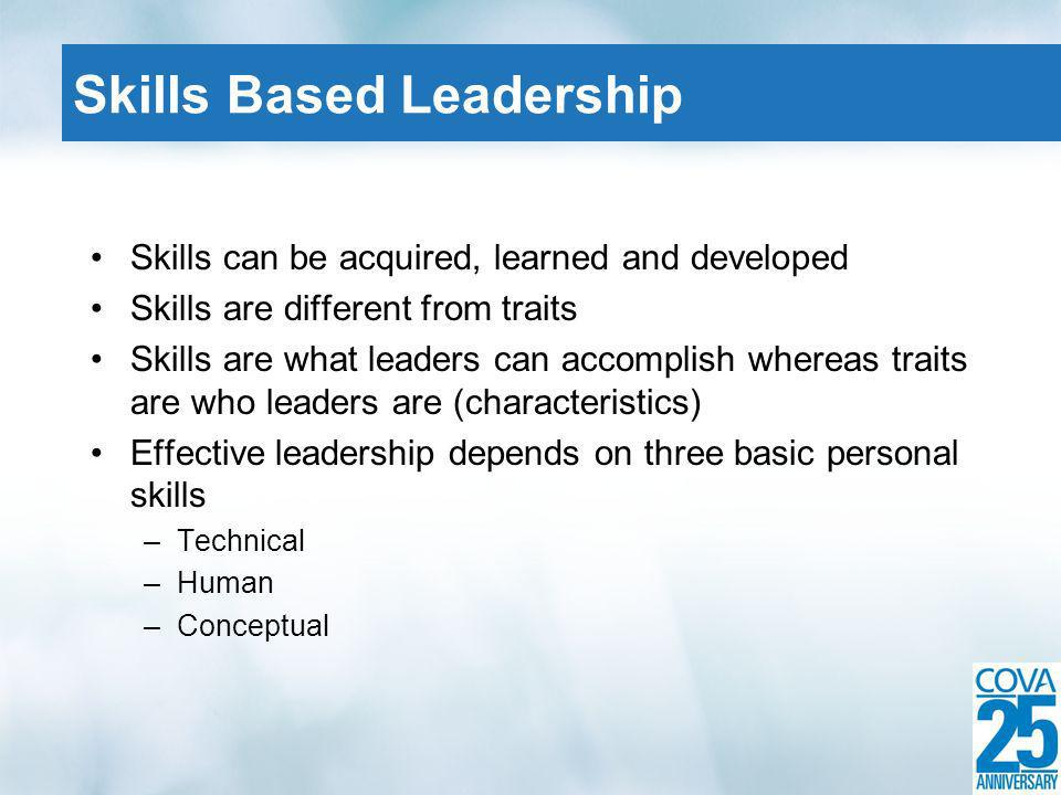Skills can be acquired, learned and developed Skills are different from traits Skills are what leaders can accomplish whereas traits are who leaders are (characteristics) Effective leadership depends on three basic personal skills –Technical –Human –Conceptual Skills Based Leadership