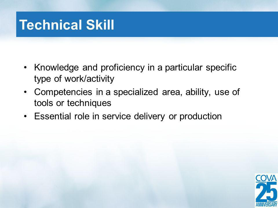 Knowledge and proficiency in a particular specific type of work/activity Competencies in a specialized area, ability, use of tools or techniques Essen