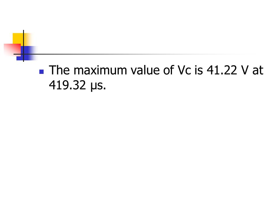 The maximum value of Vc is 41.22 V at 419.32 µs.