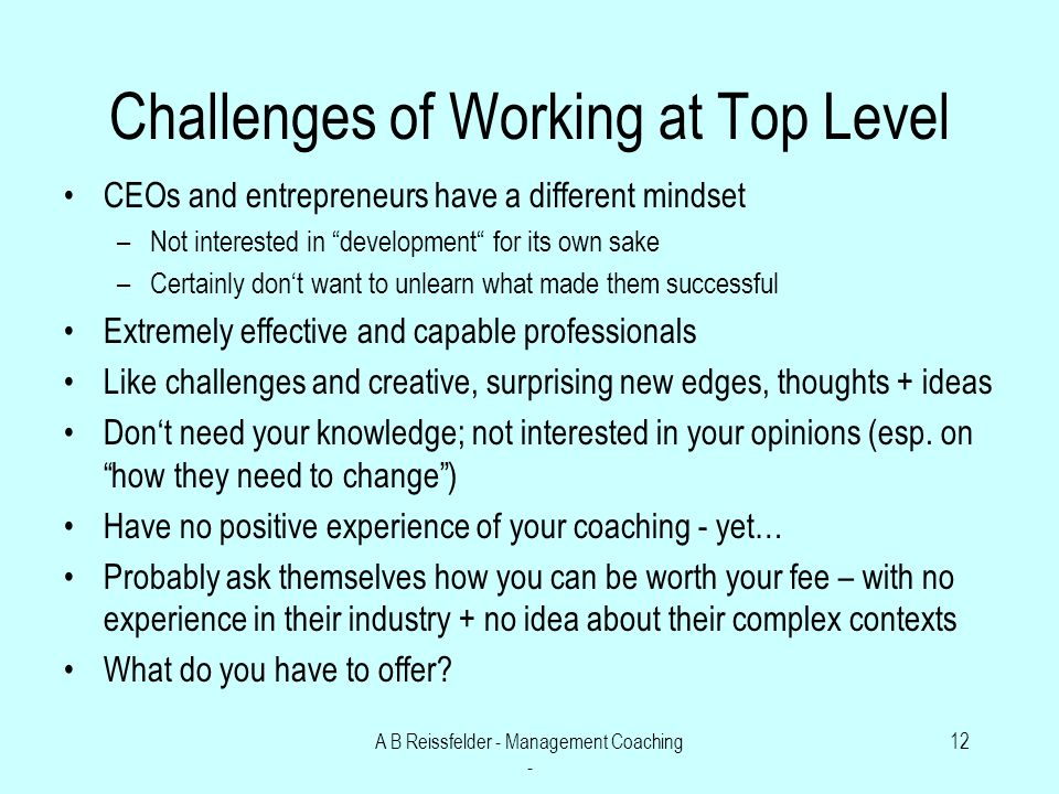 A B Reissfelder - Management Coaching - 12 Challenges of Working at Top Level CEOs and entrepreneurs have a different mindset –Not interested in development for its own sake –Certainly dont want to unlearn what made them successful Extremely effective and capable professionals Like challenges and creative, surprising new edges, thoughts + ideas Dont need your knowledge; not interested in your opinions (esp.