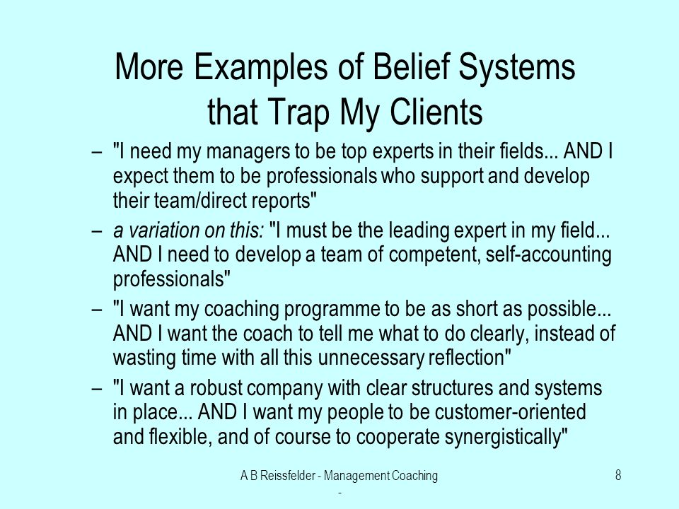 A B Reissfelder - Management Coaching - 8 More Examples of Belief Systems that Trap My Clients – I need my managers to be top experts in their fields...