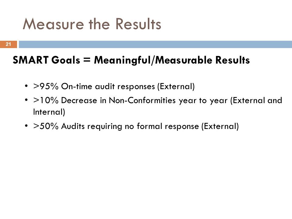 Measure the Results SMART Goals = Meaningful/Measurable Results >95% On-time audit responses (External) >10% Decrease in Non-Conformities year to year (External and Internal) >50% Audits requiring no formal response (External) 21