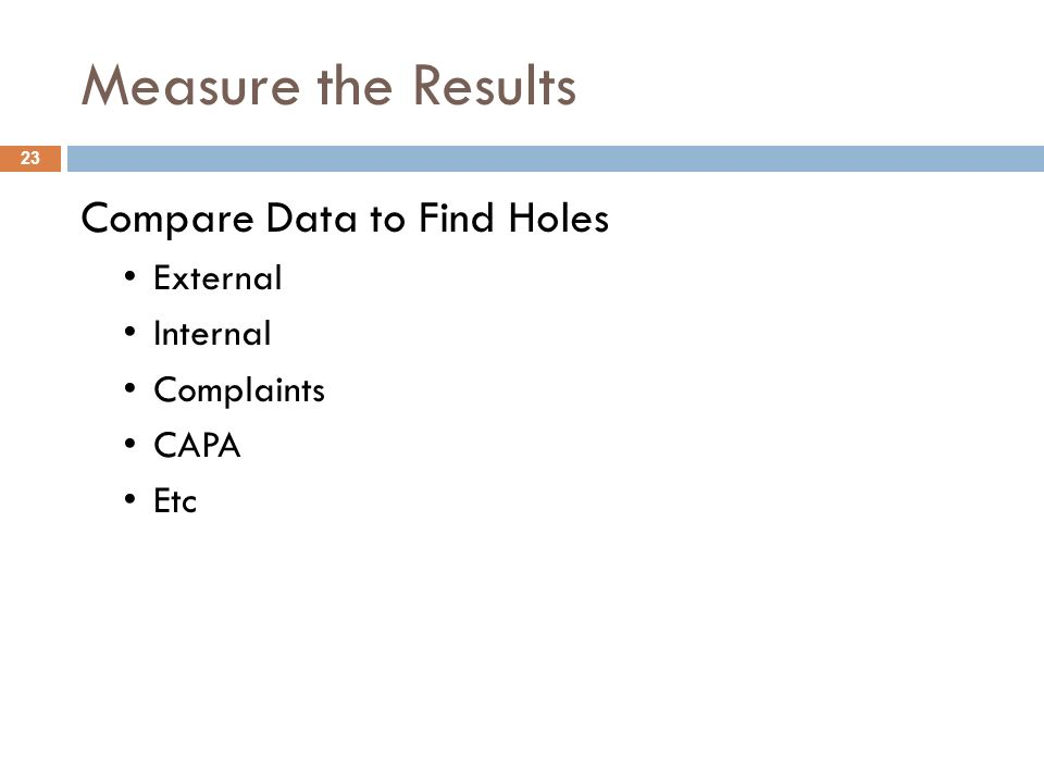 Measure the Results Compare Data to Find Holes External Internal Complaints CAPA Etc 23