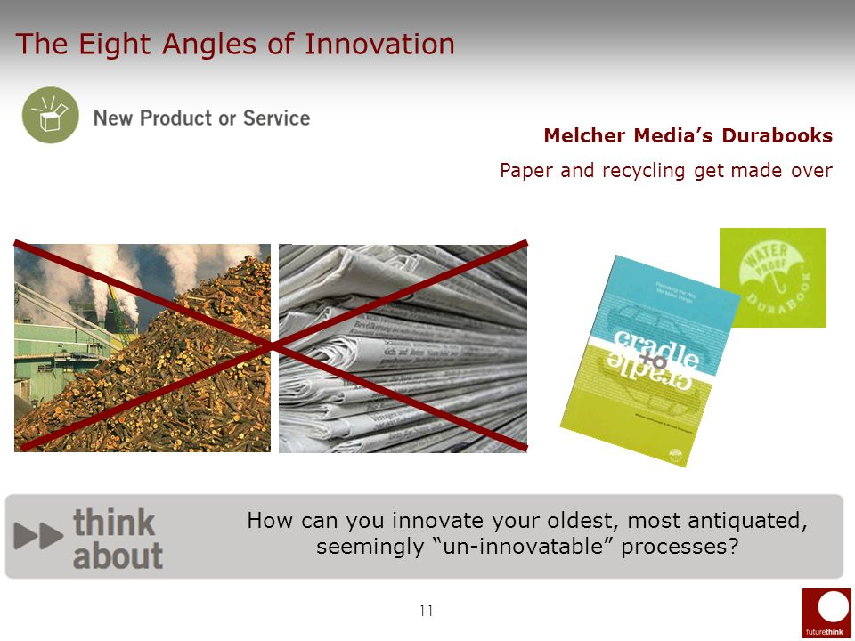 11 How can you innovate your oldest, most antiquated, seemingly un-innovatable processes? The Eight Angles of Innovation Melcher Medias Durabooks Pape