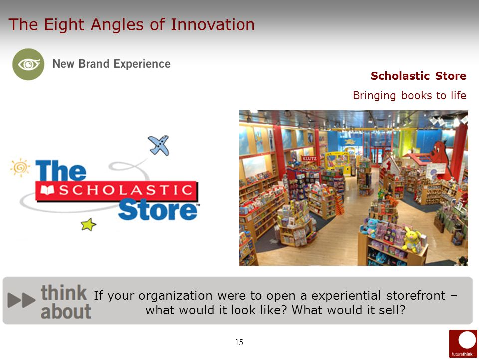 15 The Eight Angles of Innovation Scholastic Store Bringing books to life If your organization were to open a experiential storefront – what would it
