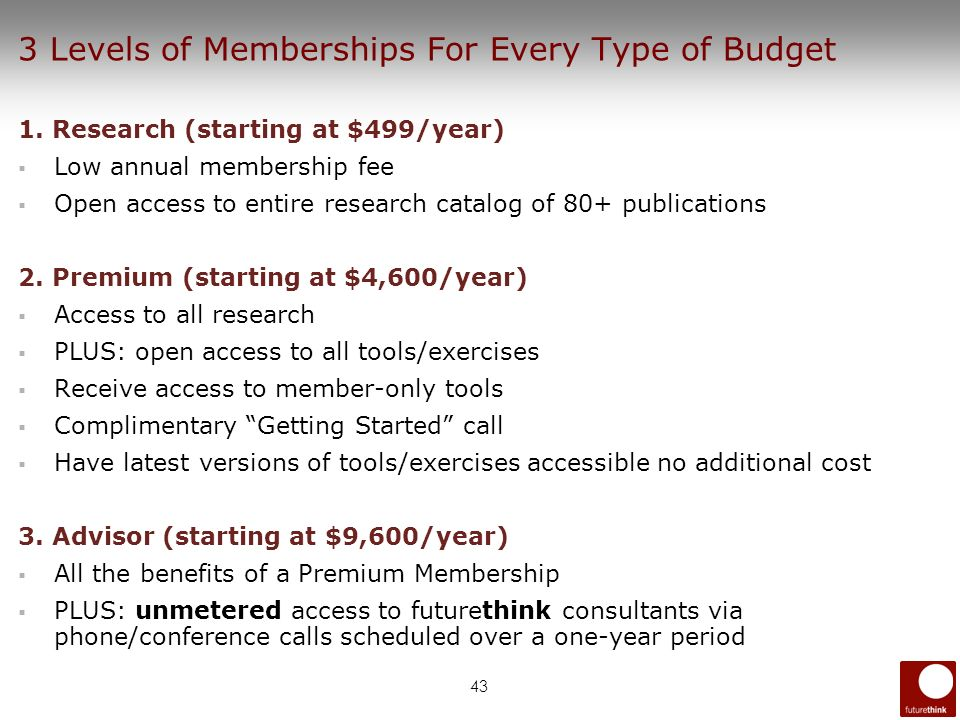 43 3 Levels of Memberships For Every Type of Budget 1. Research (starting at $499/year) Low annual membership fee Open access to entire research catal