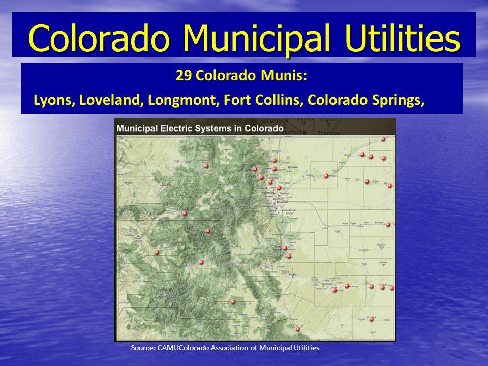 Colorado Municipal Utilities 29 Colorado Munis: Lyons, Loveland, Longmont, Fort Collins, Colorado Springs, etc Source: CAMUColorado Association of Mun