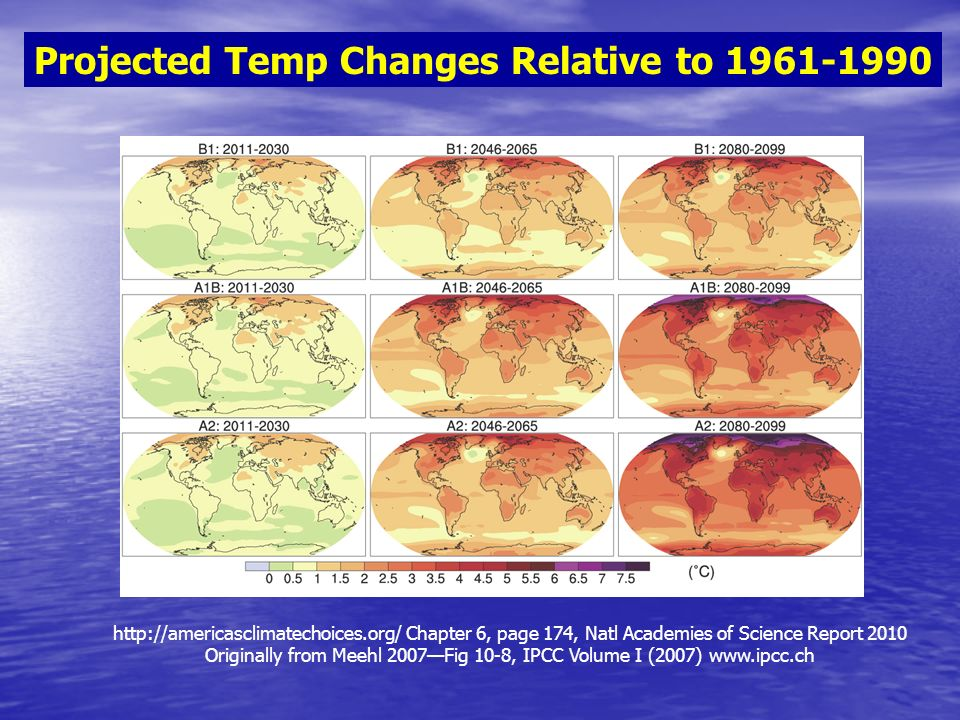 Chapter 6, page 174, Natl Academies of Science Report 2010 Originally from Meehl 2007Fig 10-8, IPCC Volume I (2007)   Projected Temp Changes Relative to