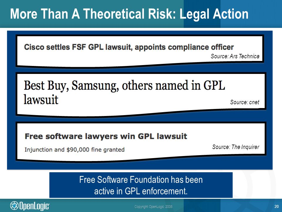 Copyright OpenLogic 2006 More Than A Theoretical Risk: Legal Action 20 Free Software Foundation has been active in GPL enforcement.