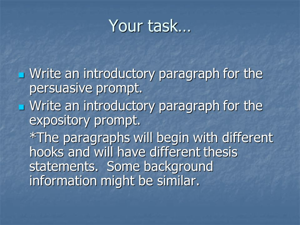 Your task… Write an introductory paragraph for the persuasive prompt. Write an introductory paragraph for the persuasive prompt. Write an introductory