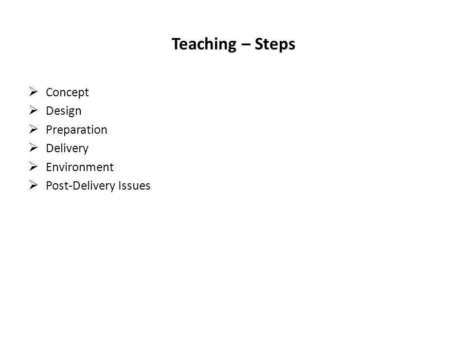 Teaching – Steps Concept Design Preparation Delivery Environment Post-Delivery Issues