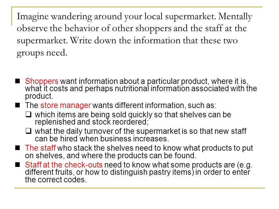 Imagine wandering around your local supermarket.