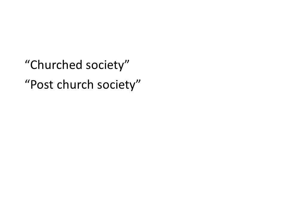 Churched society Post church society