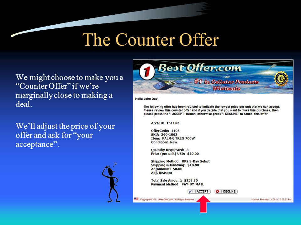 The Counter Offer We might choose to make you a Counter Offer if were marginally close to making a deal.