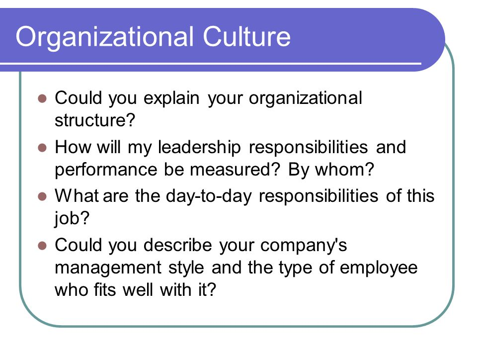 Organizational Culture Could you explain your organizational structure.