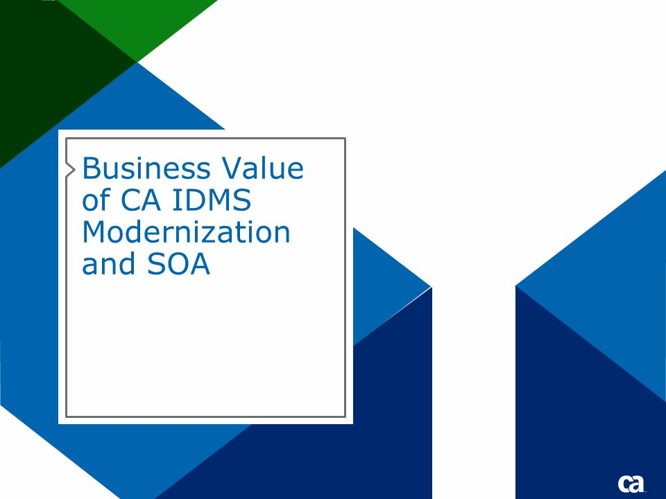 Business Value of CA IDMS Modernization and SOA