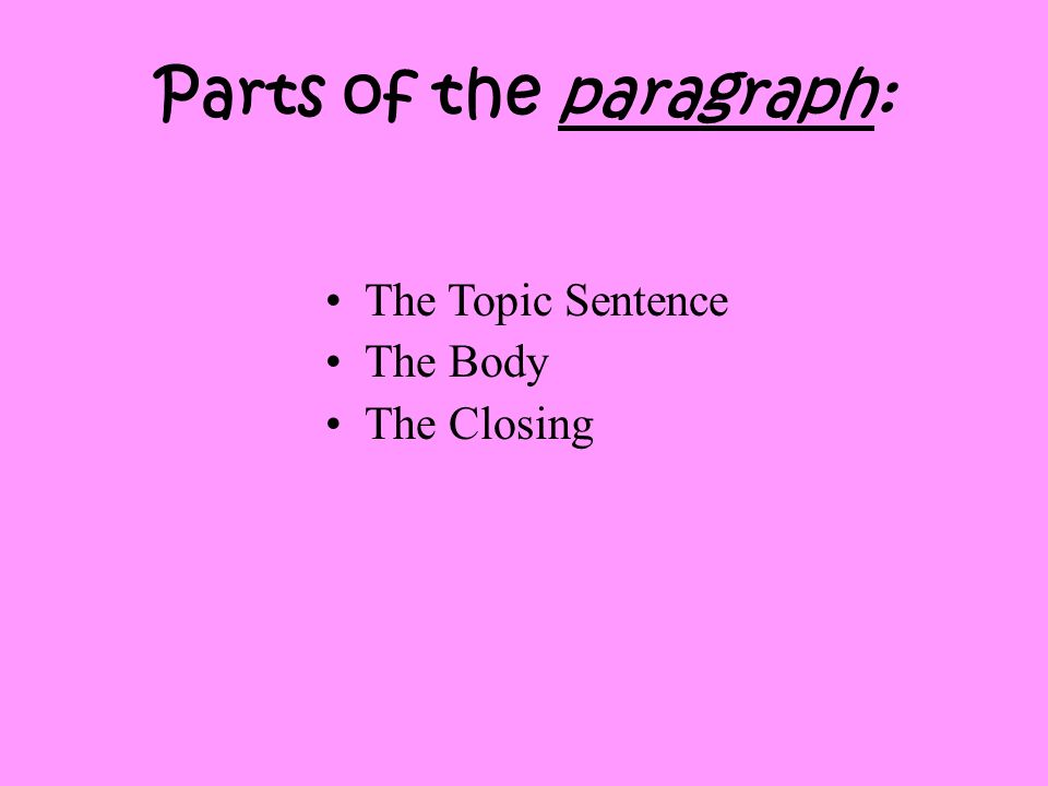 Parts of the paragraph: The Topic Sentence The Body The Closing