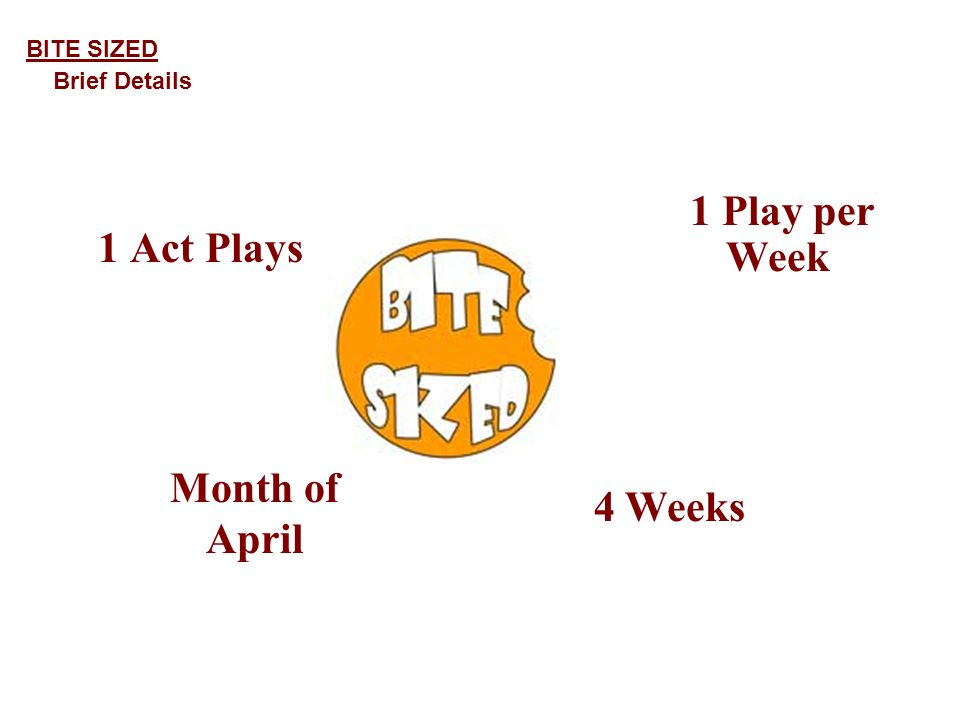 1 Act Plays 1 Play per Week 4 Weeks BITE SIZED Brief Details Month of April
