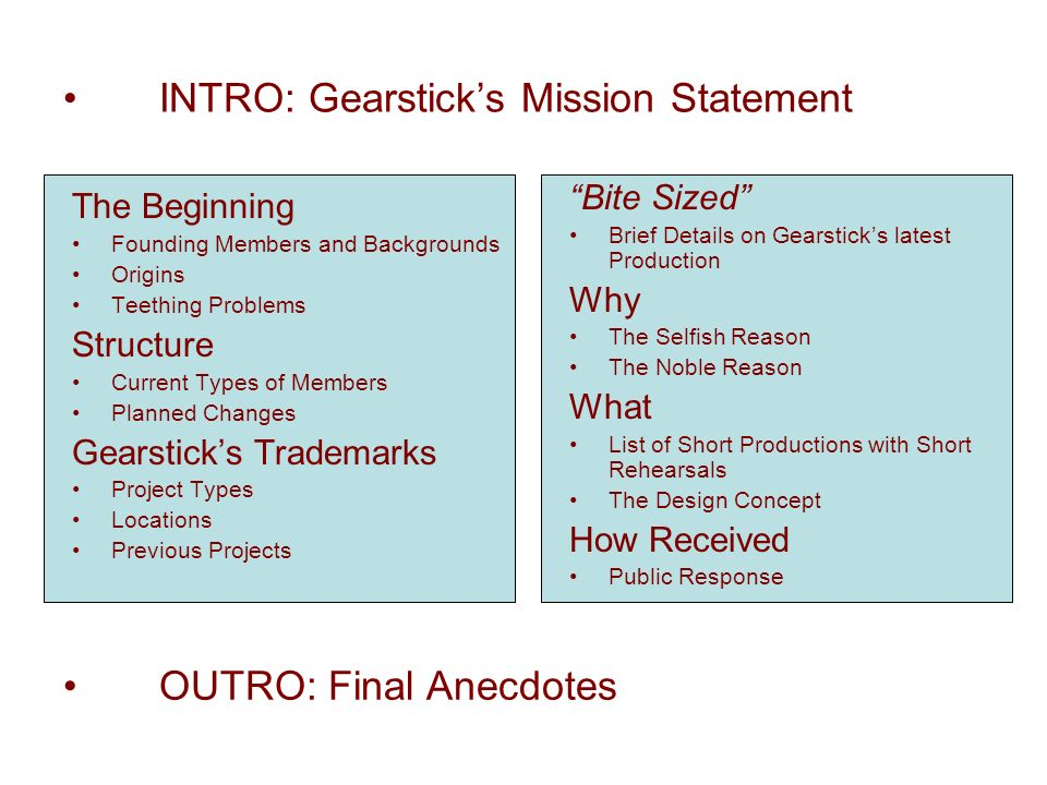 INTRO: Gearsticks Mission Statement The Beginning Founding Members and Backgrounds Origins Teething Problems Structure Current Types of Members Planned Changes Gearsticks Trademarks Project Types Locations Previous Projects Bite Sized Brief Details on Gearsticks latest Production Why The Selfish Reason The Noble Reason What List of Short Productions with Short Rehearsals The Design Concept How Received Public Response OUTRO: Final Anecdotes
