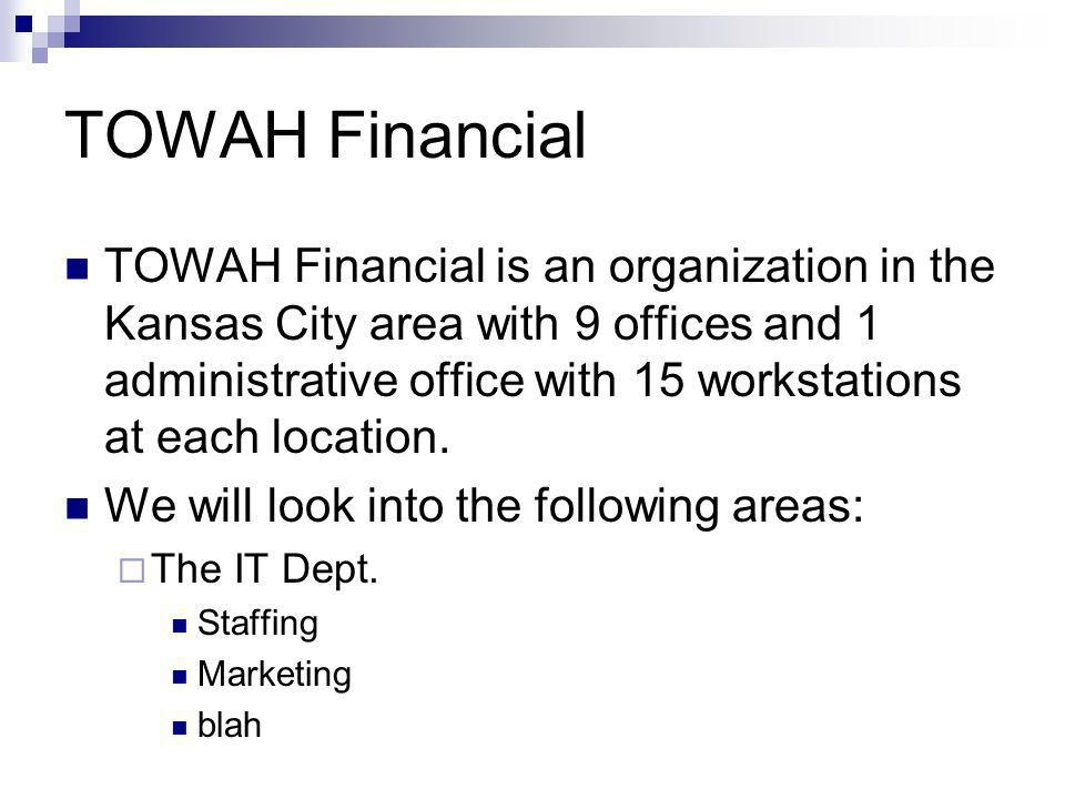 TOWAH Financial TOWAH Financial is an organization in the Kansas City area with 9 offices and 1 administrative office with 15 workstations at each loc