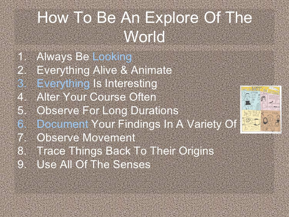 How To Be An Explore Of The World 1.Always Be Looking 2.Everything Alive & Animate 3.Everything Is Interesting 4.Alter Your Course Often 5.Observe For Long Durations 6.Document Your Findings In A Variety Of Ways 7.Observe Movement 8.Trace Things Back To Their Origins 9.Use All Of The Senses