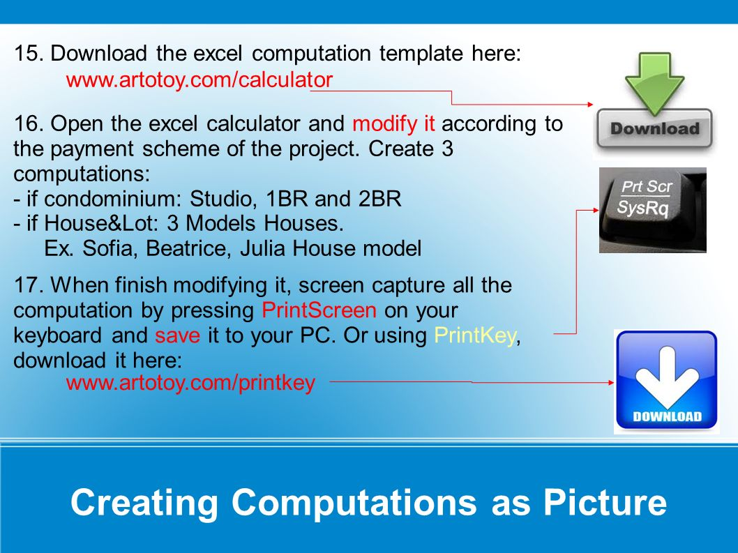 Creating Computations as Picture Note: Values can be modified for all cells with thick box border.