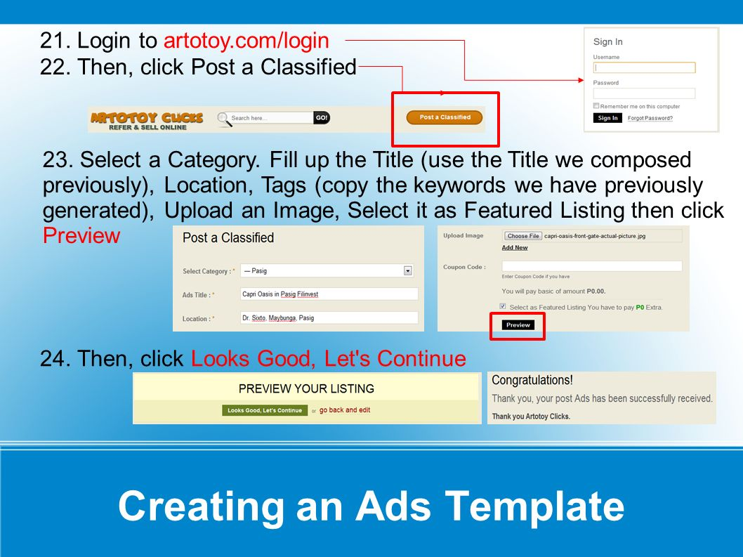 Creating an Ads Template 25.