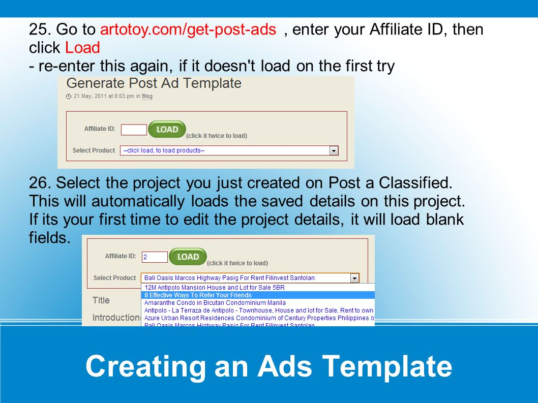 Creating an Ads Template In this part, we will one-by-one fill the fields with details...