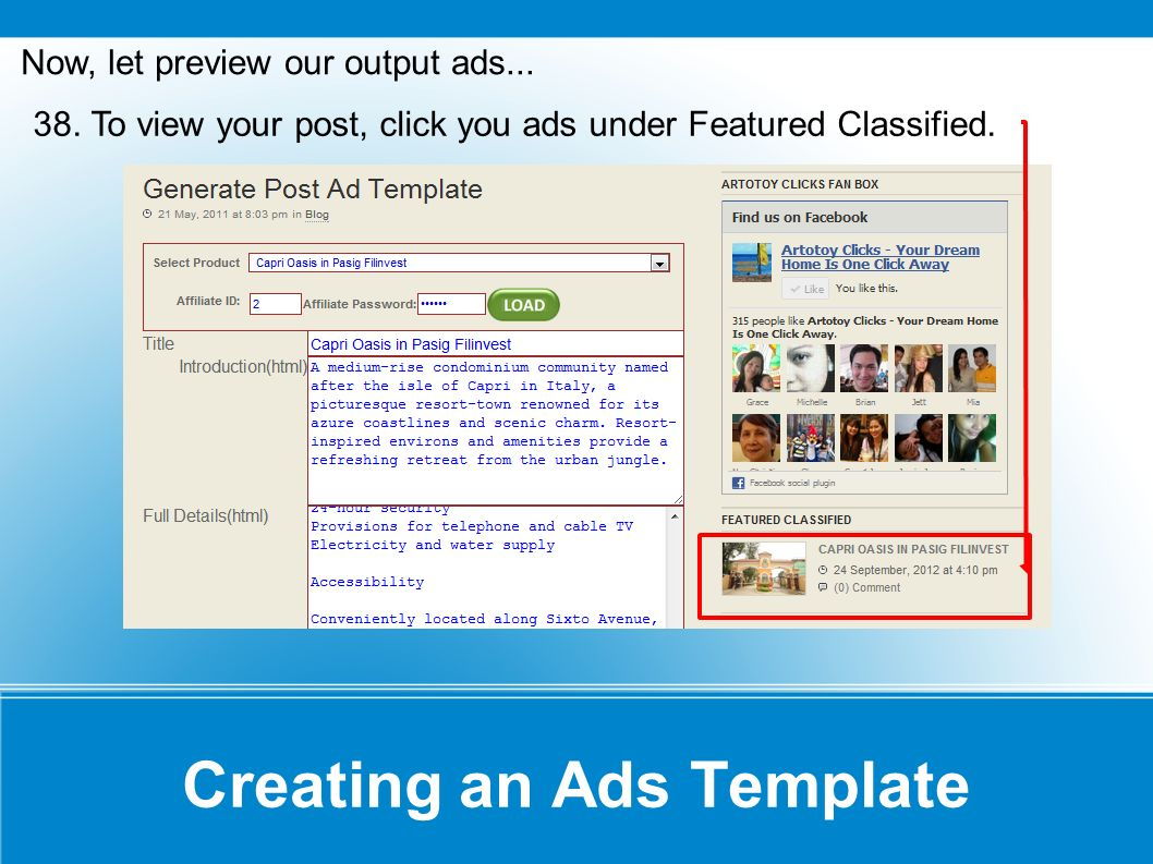Creating an Ads Template Our output...Congrats! You re done!