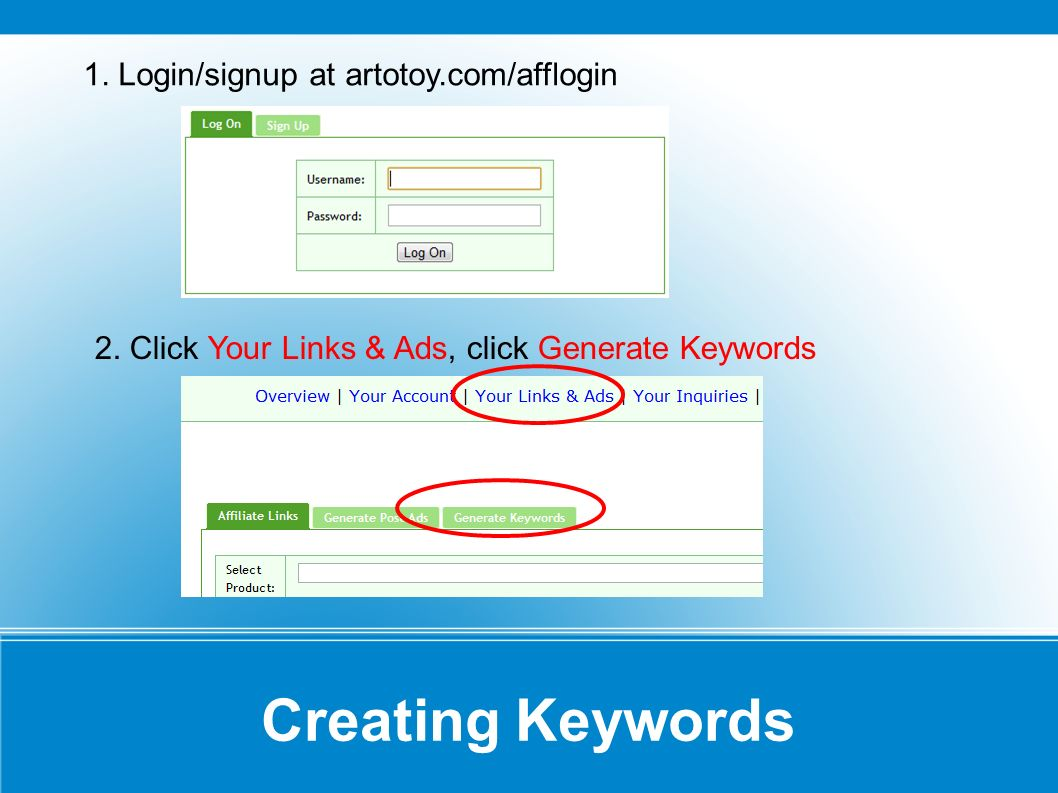 Creating Keywords 3.Enter 2-3 words regarding your project or the project name 4.