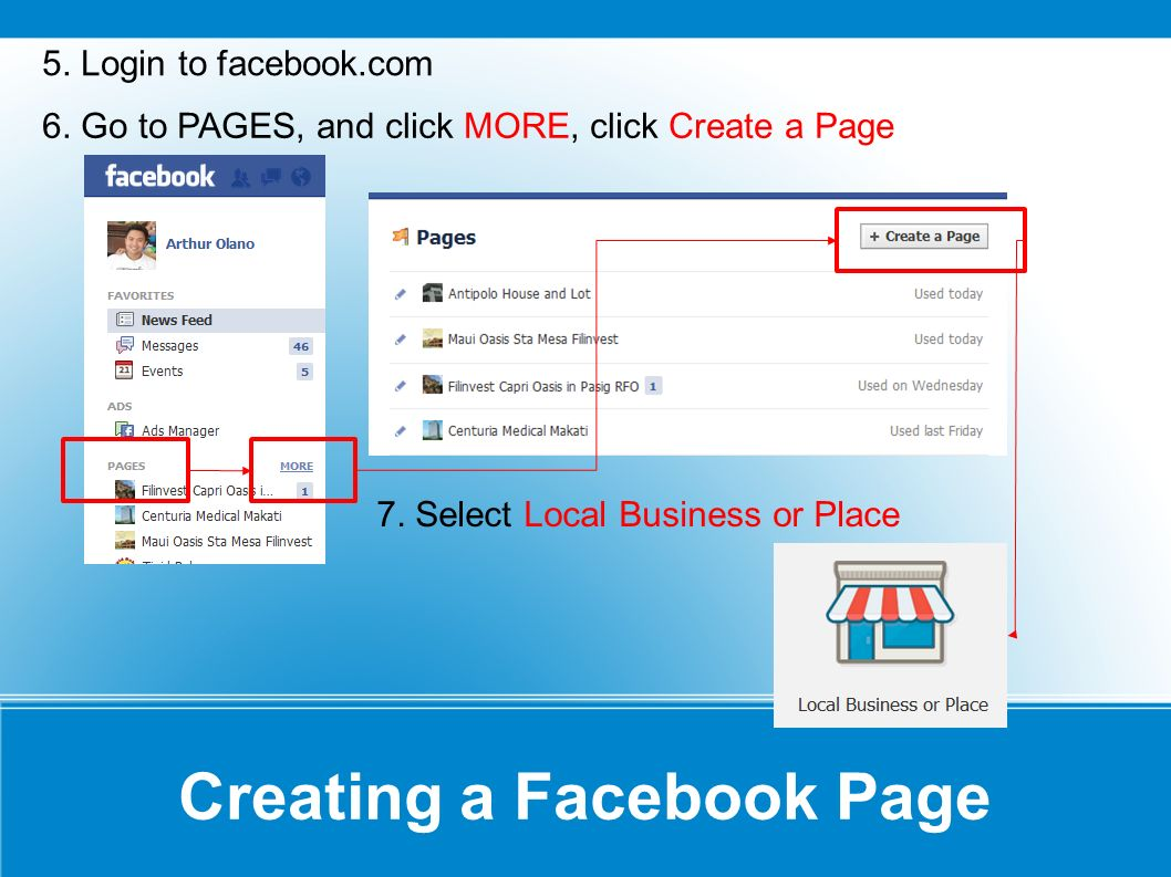 Creating a Facebook Page 5. Login to facebook.com 6. Go to PAGES, and click MORE, click Create a Page 7. Select Local Business or Place
