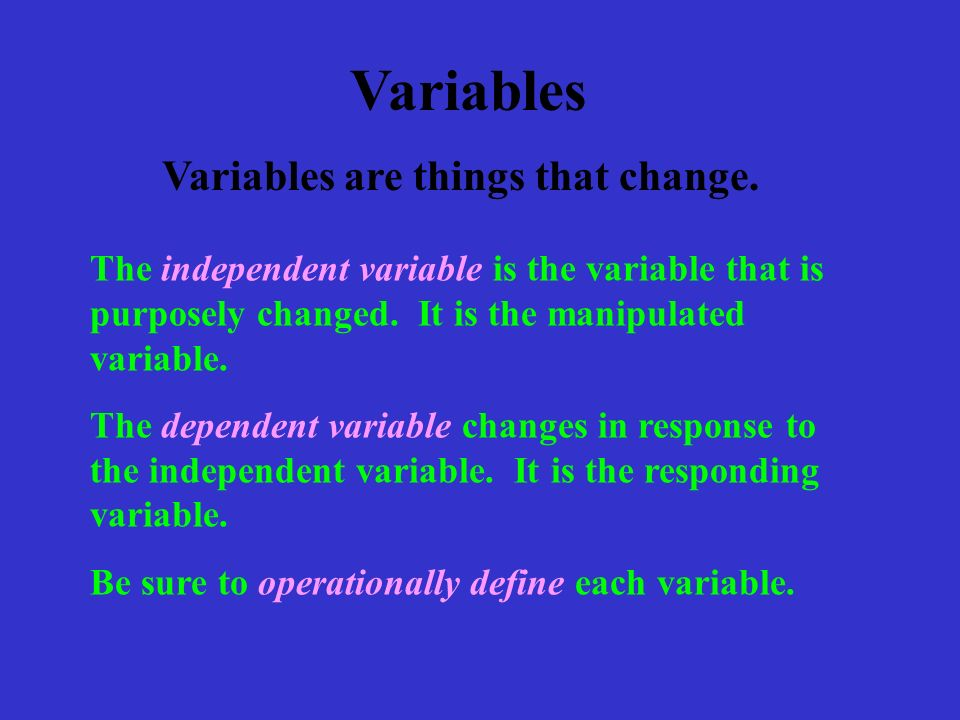 The independent variable is the variable that is purposely changed.