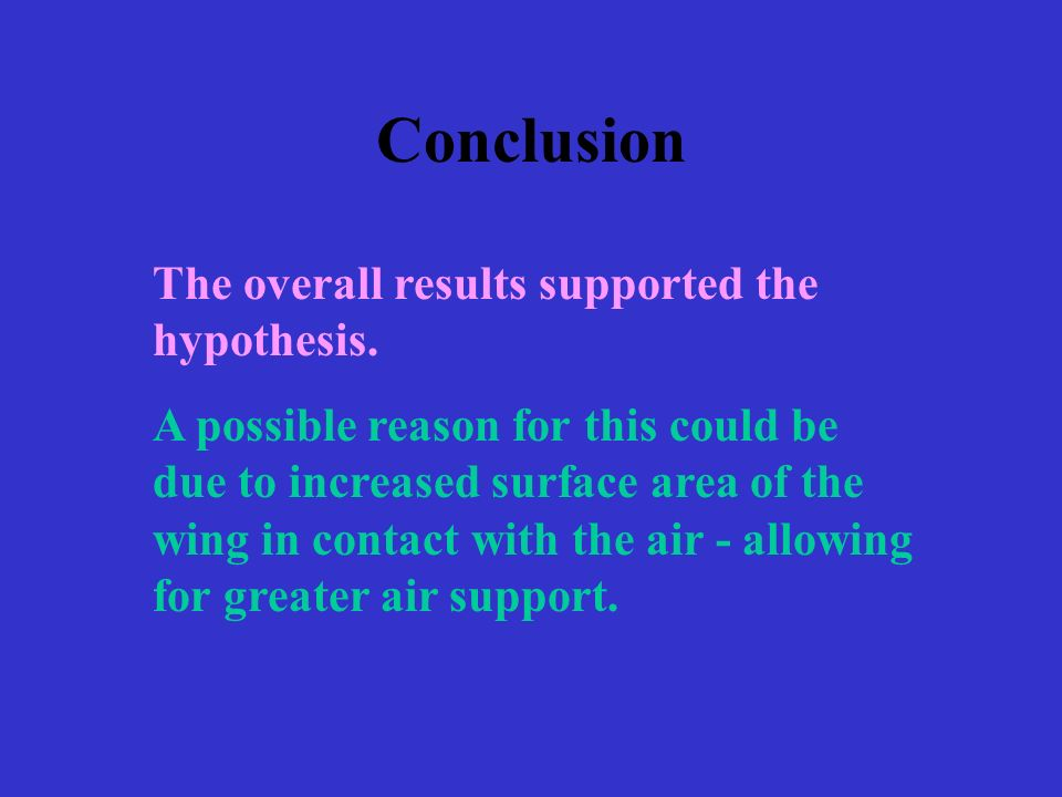 Conclusion The overall results supported the hypothesis.