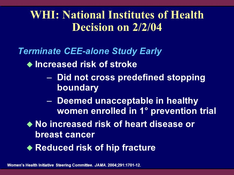WHI: National Institutes of Health Decision on 2/2/04 Terminate CEE-alone Study Early Increased risk of stroke –Did not cross predefined stopping boun