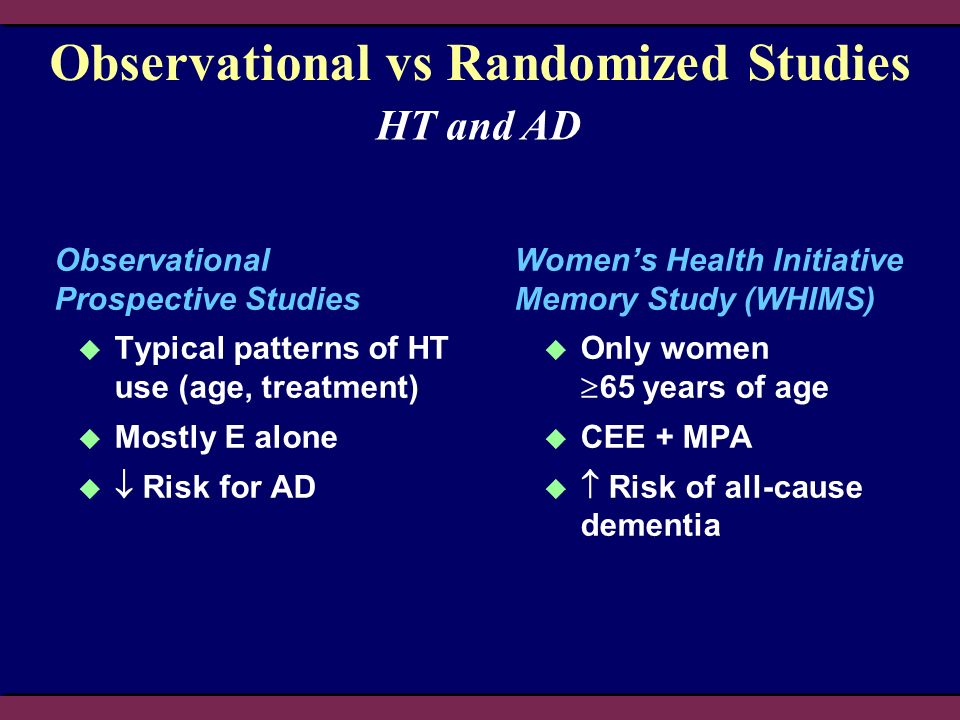 Observational vs Randomized Studies Observational Prospective Studies Typical patterns of HT use (age, treatment) Mostly E alone Risk for AD Womens He