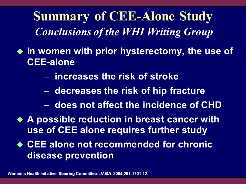 Summary of CEE-Alone Study In women with prior hysterectomy, the use of CEE-alone –increases the risk of stroke –decreases the risk of hip fracture –d