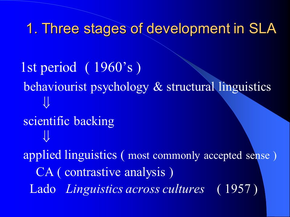 Theoretical basis of CA behaviourist psychology structural linguistics LA ---- product of habit formation SLL ---- a process of overcoming the habits of the native language in order to acquire the new habits of the target language