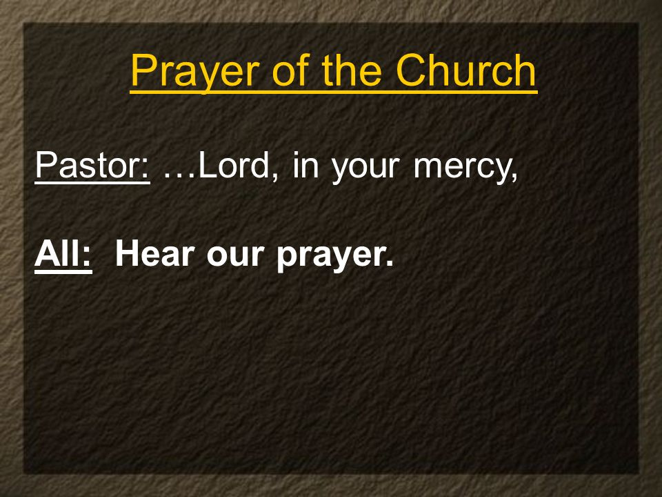 Prayer of the Church Pastor: …Lord, in your mercy, All: Hear our prayer.